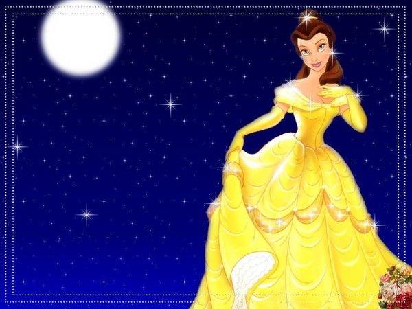 Complètement et à l'extrême Belle en robe jaune sur fond nuit et lune (7) #EK_54